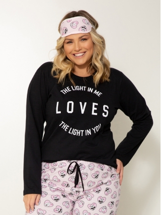 Pijama Manga Longa Plus Size Loves 349