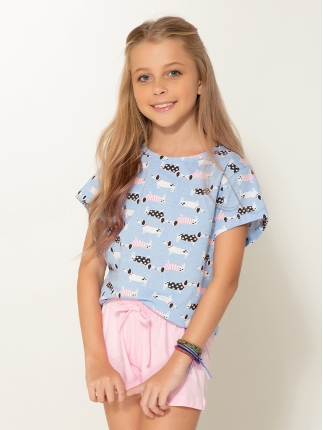 Short Doll Manga Curta Infantil Dog 379