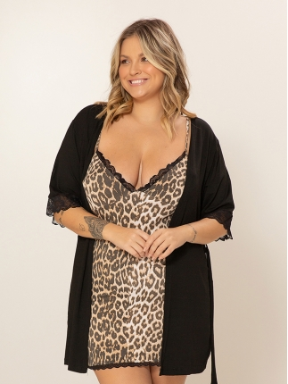 Robe Manga Curta Plus Size 520
